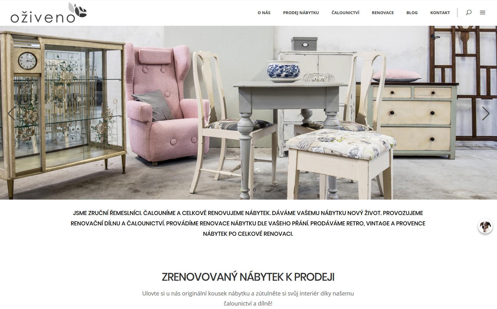 Oživeno čalounictví renovace nábytku prodej designového nábytku reference webu Dagmara Málková webdesignér a konzultant