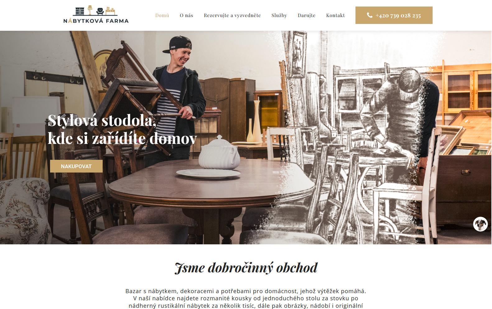 Nábytková farma dobročinný obchod s nábytkem reference web webdesignér Dagmara Málková
